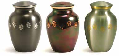 Classic Paw Urn - Slate, Copper, Pewter (L to R)